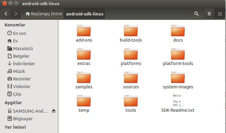 android-sdk-linux klasörünün içi.